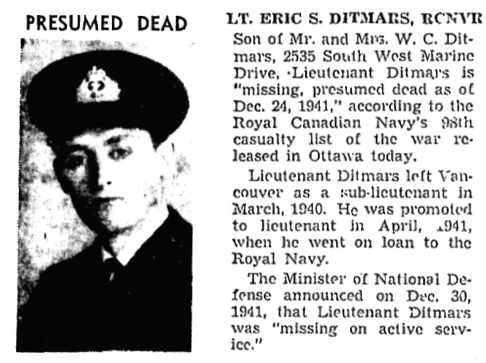 Presumed Dead, Vancouver Sun, July 24, 1942, page 8; https://news.google.com/newspapers?id=-jJlAAAAIBAJ&sjid=OIkNAAAAIBAJ&pg=1753%2C2636276.