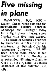 """Five missing in plane,"" Prince George Citizen, June 16, 1970, page 1; http://pgnewspapers.pgpl.ca/fedora/repository/pgc:1970-06-16/"