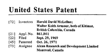 Harold David McLellan, co-inventor, United States Patent Number 3616317; http://www.freepatentsonline.com/3616317.pdf: Aluminum Pot Line and Method of Operating Same.