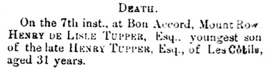 Births, Deaths, Marriages and Obituaries, The Star (Saint Peter Port); Issue 155, June 8, 1878, page 2