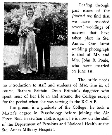 John B. Poole and Barbara Brittain, wedding notice, Macdonald College Journal, volume 6, number 11 (July 1946), page 27; https://archive.org/stream/McGillLibrary-mac_the-macdonald-college-journal_000431638-v6-1945-46-11-4354/mac_the-macdonald-college-journal_000431638-v6-1945-46-11#page/n28/mode/1up