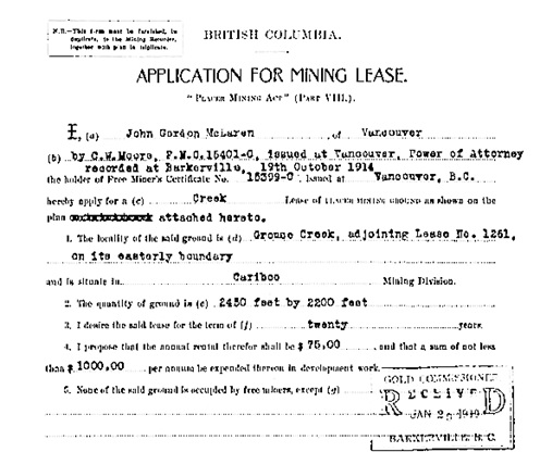 British Columbia Order in Council 0274/1919, February 24, 1919; approving John Gordon McLaren's application for a mining lease; http://bclaws.ca/civix/document/id/oic/arc_oic/0274_1919