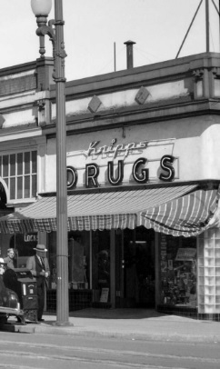 Kripps Pharmacy, July 30, 1948, detail from Granville Street, Vancouver, B.C., City of Vancouver Archives; CVA 229-15; http://searcharchives.vancouver.ca/granville-street-vancouver-b-c-8
