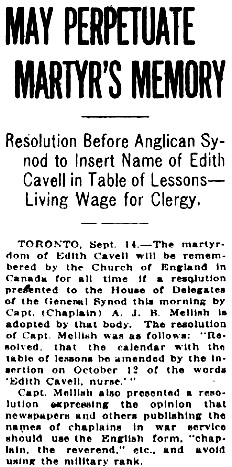"""""""May Perpetuate Martyr's Memory,"""" Victoria Daily Colonist, September 15, 1918, page 2; http://archive.org/stream/dailycolonist60y243uvic#page/n1/mode/1up."""