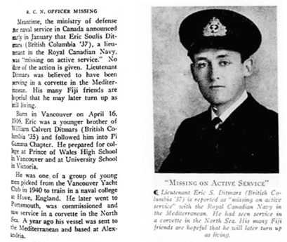 """Our War Story—Continued; Two Fijis Killed in Action and Third is Missing as United States Joins Canada in Great Conflict,"" by Cecil J. Wilkinson, Phi Delta Gamma, February 1942, pages 251 and 252; http://www.phigam.org/document.doc?id=5114. [Phi Delta Gamma members were sometimes called ""Fijis.""]"