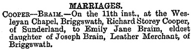 Births, Deaths, Marriages and Obituaries, Sunderland Daily Echo and Shipping Gazette (Sunderland, England), Wednesday, August 25, 1886; page 2.