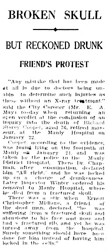 """Broken Skull; But Reckoned Drunk; Friend's Protest,"" Sun (Sydney, New South Wales) February 10, 1931, page 7; http://trove.nla.gov.au/newspaper/article/224673684?searchTerm=%22richard%20storey%20cooper%22&searchLimits="