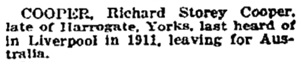 """Missing Friends,"" Sunday Times (Perth, Western Australia, June 2, 1929, page 11; http://trove.nla.gov.au/newspaper/article/58415865?searchTerm=%22richard%20storey%20cooper%22&searchLimits="