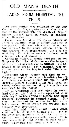 """Old Man's Death; Taken From Hospital to Cells,"" Sydney Morning Herald, February 11, 1931, page 7; http://trove.nla.gov.au/newspaper/article/16753240/1164158"