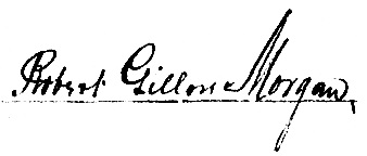 "Robert Gillow Morgan, signature, from ""British Columbia Death Registrations, 1872-1986; 1992-1993"", database with images, FamilySearch (https://familysearch.org/ark:/61903/1:1:FLKX-VJV : 30 September 2015), George Herbert Morgan, 1907."