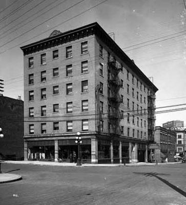 St. Regis Hotel, 602 Dunsmuir Street, 1915, Vancouver Public Library, VPL Accession Number: 20021; http://www3.vpl.ca/spePhotos/LeonardFrankCollection/02DisplayJPGs/1000/20021.jpg