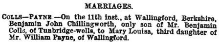 Births, Deaths, Marriages and Obituaries, Morning Post (London, England), Issue 31812, June 16, 1874; page 7.