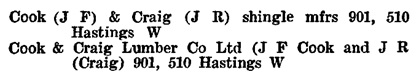 Henderson's Greater Vancouver City Directory, 1917, page 437 [edited image]