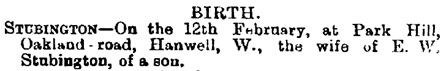 Births, Deaths, Marriages and Obituaries, The Bury and Norwich Post, and Suffolk Standard (Bury Saint Edmunds, England), Issue 6296, February 20, 1900; page 8.