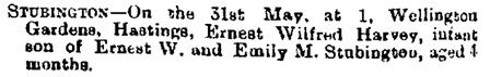 Births, Deaths, Marriages and Obituaries, The Bury and Norwich Post, and Suffolk Standard (Bury Saint Edmunds, England), Issue 6309, June 5, 1900; page 8.