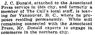 """Around the Corridors,"" San Francisco Call, Volume 86, Number 125, 3 October 1899, page 6; http://cdnc.ucr.edu/cgi-bin/cdnc?a=d&d=SFC18991003.2.74&srpos=9&e=--1880---1930--en--20-SFC-1--txt-txIN-%22j+c+donald%22-------1"