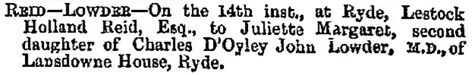 Births, Deaths, Marriages and Obituaries, Hampshire Telegraph and Sussex Chronicle (Portsmouth, England), Issue 3853, July 21, 1869; page 3.