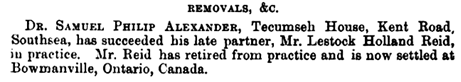 Lestock Holland Reid, The Homoeopathic World, Volume 26, March 2, 1891, page 137; https://books.google.ca/books?id=Vdg1AQAAMAAJ&pg=PA137&lpg=PA137&dq=%22lestock+holland+reid%22&source=bl&ots=zx0P7Mve39&sig=65cAfZUEtbMbWxZwt0Opik4eNNs&hl=en&sa=X&ved=0ahUKEwjry46F76rOAhUX52MKHfErA_cQ6AEINjAF#v=onepage&q=%22lestock%20holland%20reid%22&f=false