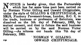 London Gazette, February 9, 1923, page 1023; https://www.thegazette.co.uk/London/issue/32794/page/1028/data.pdf