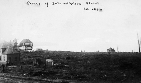 "View from corner of Bute and Nelson Street, 1890; Vancouver City Archives, Dist P59; http://searcharchives.vancouver.ca/view-from-corner-of-bute-and-nelson-street: ""Photograph shows the Page Ponsford and George Stevens residences."""