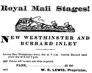 Royal Mail Stages, Mainland Guardian, April 15, 1874, page 1; https://news.google.com/newspapers?id=LT09AAAAIBAJ&sjid=rysMAAAAIBAJ&pg=2814%2C7197357