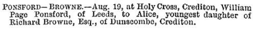 Births, Deaths, Marriages and Obituaries, The Western Times (Exeter, England), Wednesday, August 25, 1880; page 2; Issue 9376.