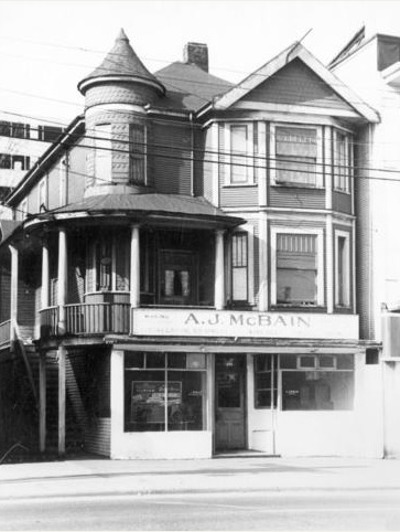 1968 Georgia Street, 1957, Vancouver City Archives, Bu P508.2 - [Exterior of A.J. McBain Co. Ltd - 1968 West Georgia Street]; http://searcharchives.vancouver.ca/exterior-of-j-mcbain-co-ltd-1968-west-georgia-street