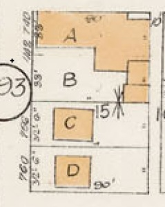750 Denman Street and 760 Denman Street - detail from Goad's Atlas of the city of Vancouver – 1912 – Vol 1 – Plate 7 – Coal Harbour to Barclay Street and Cardero Street to Stanley Park