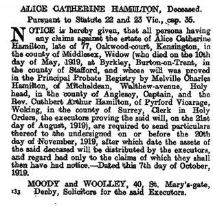 The London Gazette, Publication date 10 October 1919 Issue:31593 Page:12603, https://www.thegazette.co.uk/London/issue/31593/page/12603