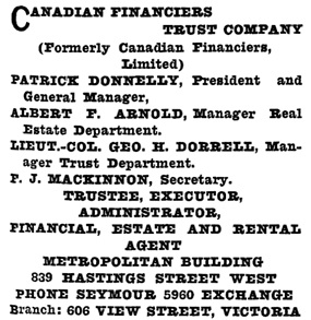 Henderson's Greater Vancouver City Directory, 1914, Part 1, page 707