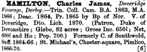Crockford's Clerical Directory for 1872, sixth issue; London, Horace Cox, 1872, page 367; https://books.google.ca/books?id=rAMFAAAAQAAJ&pg=PA367&lpg=PA367&dq=charles+james+hamilton#v=onepage&q=charles%20james%20hamilton&f=false