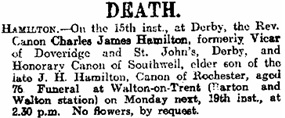 Charles James Hamilton, death notice, Derby Daily Telegraph (Derby, England), Issue 11913, November 15, 1917; page 2