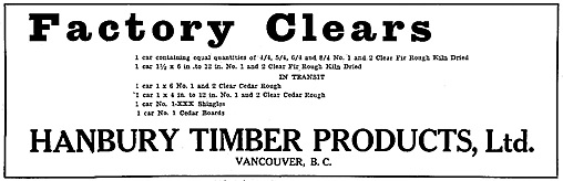 Hanbury Timber Products Limited, Canada Lumberman, volume 42, number 7, page 31, https://archive.org/stream/canadianforjanjun1922donm/#page/n586/mode/1up.