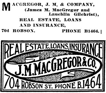 Henderson's City of Vancouver Directory, 1907, page 615 (selected portions of page)