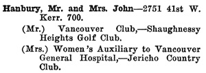 Greater Vancouver Social and Club Register, 1927, page 32