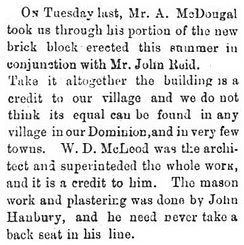 """Local & Other Notices,"" Markdale Standard (Markdale, Ont.), November 18, 1881, page 3, middle of column 2; http://news.ourontario.ca/ghpl/120911/page/4. (selected portions of article)"