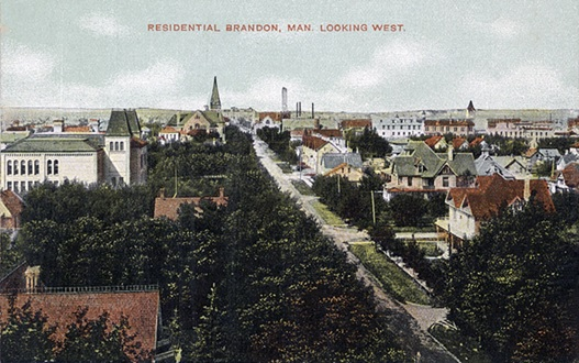 Residential Brandon, Man. Looking West, in Christie's Brandon Series of six colored picture post cards of Brandon, Manitoba; Brandon: Christie's Bookstore, Brandon, Man, c. 1910; Peel's Prairie Provinces; http://peel.library.ualberta.ca/postcards/PC000194.html#n5.