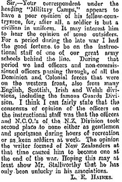 """""""Military Camps,"""" New Zealand Herald, Volume LXIII, issue 19275, March 13, 1926, page 9; https://paperspast.natlib.govt.nz/newspapers/NZH19260313.2.21.4?query=l%20e%20haines"""