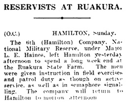 """""""Reservists At Ruakura,"""" Auckland Star, volume LXXI, issue 280, November 25, 1940, page 3; https://paperspast.natlib.govt.nz/newspapers/AS19401125.2.19?query=l%20e%20haines"""