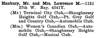 Greater Vancouver Social and Club Register, 1927, page 32.