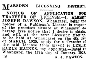 Auckland Star, volume LX, issue 32, February 7, 1929, page 10, column 4; https://paperspast.natlib.govt.nz/newspapers/AS19290207.2.124.4?query=leslie%20earls%20haines