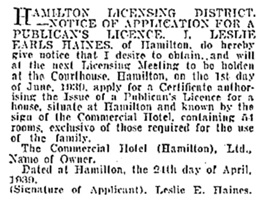 New Zealand Herald, volume LXXVI, issue 23338, May 5, 1939, page 4, column 2; https://paperspast.natlib.govt.nz/newspapers/NZH19390505.2.10.2?query=leslie%20earls%20haines