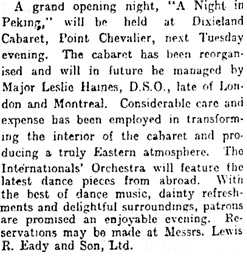 """Dixieland Cabaret,"" New Zealand Herald, September 15, 1926, page 6; https://paperspast.natlib.govt.nz/newspapers/NZH19260914.2.18?query=leslie%20haines"