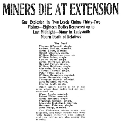 """Miners Die at Extension,"" Victoria Daily Colonist, October 6, 1909, page 1; http://archive.org/stream/dailycolonist19091006uvic/19091006#page/n0/mode/1up"
