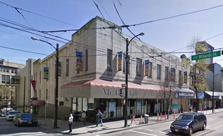 Northeast corner of Hastings Street and Richards Street. Google Streets: searched September 7, 2016; image dated April 2009.