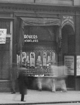 Detail from Corner of Hastings and Richards Street; 400 block of West Hastings prior to demolition on February 3, 1938. Vancouver City Archives; Str N72; http://searcharchives.vancouver.ca/corner-of-hastings-and-richards-street.