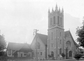 St. John's Presbyterian Church, 1400 Comox Street, about 1920, City of Vancouver Archives, CVA 99-998 [cropped]; http://searcharchives.vancouver.ca/st-johns-presbyterian-church-1400-comox-street.