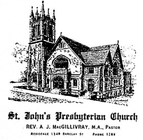 "St. John's Presbyterian Church, detail from ""British Columbia Marriage Registrations, 1859-1932; 1937-1938,"" database with images, FamilySearch (https://familysearch.org/ark:/61903/1:1:JDD3-1Y6 : 21 January 2016), John Wynne Wilson and Evelyn Dodds, 29 Jun 1910"