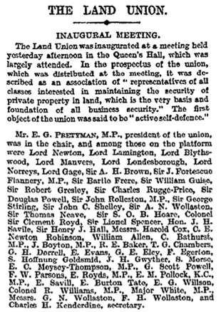 """The Land Union,"" The Times (London, England), issue 39265, May 6, 1910, page 10 [in the list of participants, G.H. Dorrell is at the beginning of line 15]."