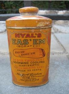 Vintage Nyal's Eas' Em Foot Powder Tin....New York and London Drug Co., http://www.ebay.com/itm/Vintage-Nyals-Eas-Em-Foot-Powder-Tin-New-York-and-London-Drug-Co-/371709645533?nma=true&si=jdLVwi3TI8lHmD5iupF7OeW%252B2v4%253D&orig_cvip=true&rt=nc&_trksid=p2047675.l2557
